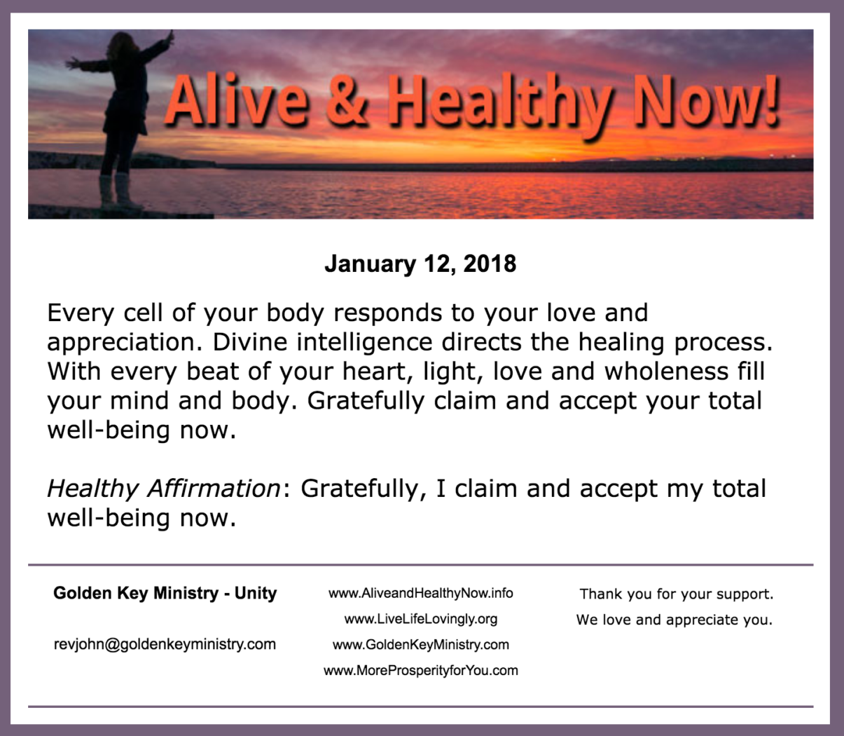 Alive and Healthy Now!